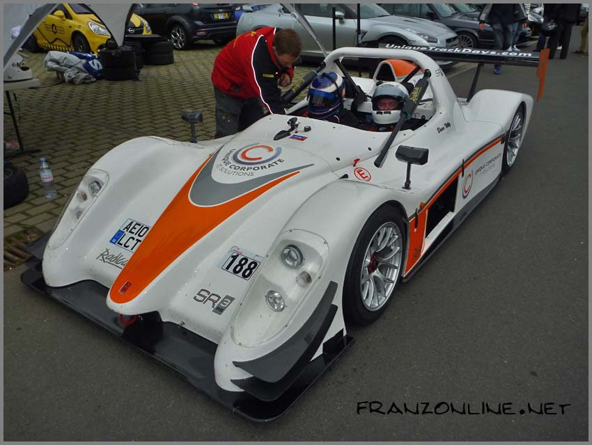 The Radical SR3RS driven by Michael Vergers. In the passenger seat is my father, Joe
